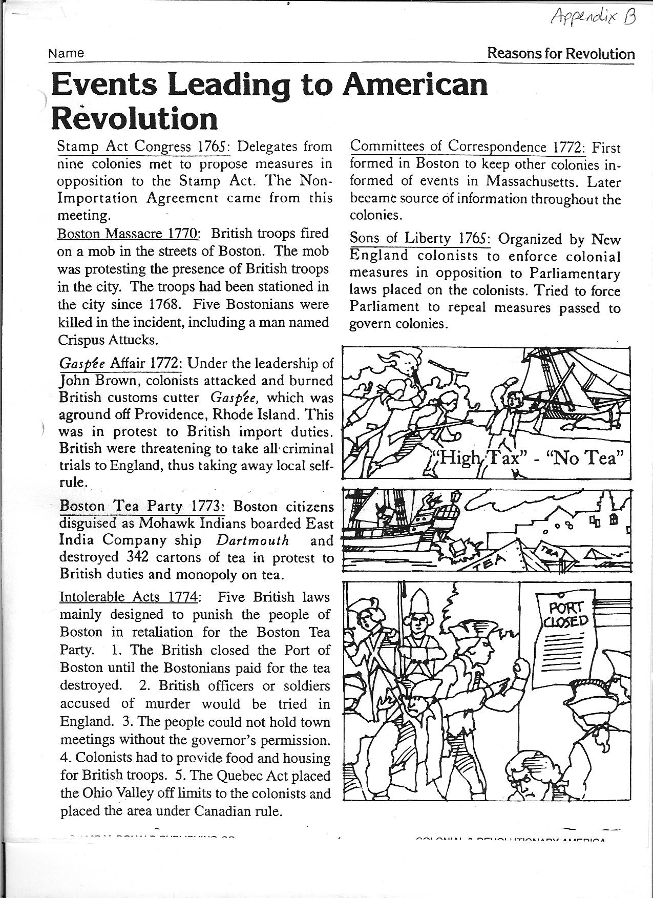 Worksheet American Revolution Timeline Worksheet salem in history the science and art of learning from evidence events leading to american revolution handout